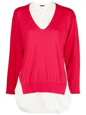 Двухцветная блузка со вставками UNDERCOVER. Цвет: красный