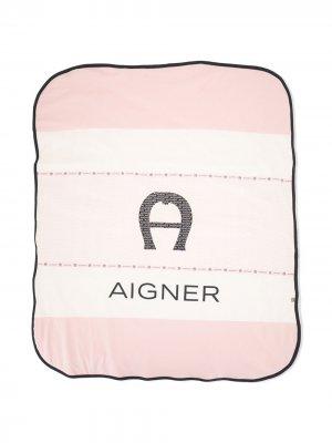 Одеяло в стиле колор-блок с логотипом Aigner Kids. Цвет: розовый