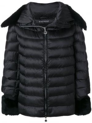 Дутая куртка с меховой оторочкой Hetregò. Цвет: чёрный