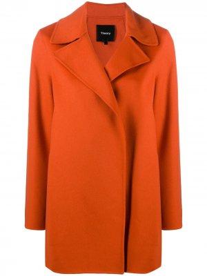 Трикотажное пальто без застежки Theory. Цвет: оранжевый