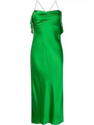 Коктейльное платье без рукавов с драпировкой Michelle Mason. Цвет: зеленый