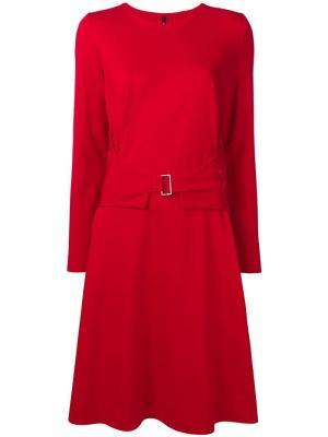 Платье миди с поясом Pierantoniogaspari. Цвет: красный