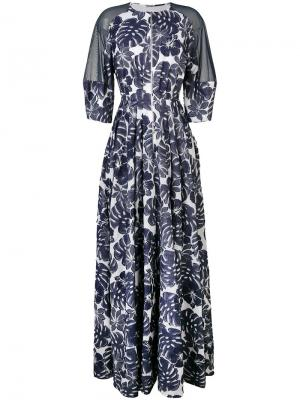 Платье с цветочным принтом Talbot Runhof. Цвет: синий