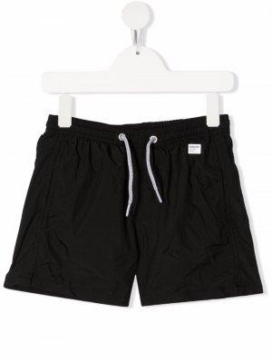 Плавки-шорты с нашивкой-логотипом Mc2 Saint Barth Kids. Цвет: черный