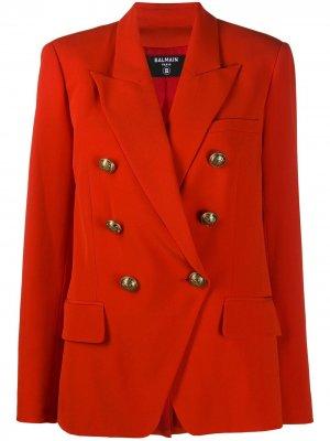 Двубортный пиджак Balmain. Цвет: оранжевый