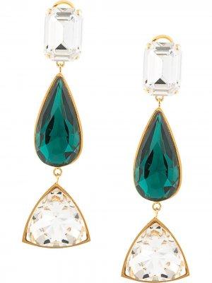 Серьги-подвески с кристаллами Shourouk. Цвет: зеленый