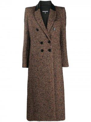 Двубортное пальто с узором в елочку Patrizia Pepe. Цвет: черный