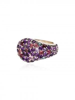 Серебряное кольцо с сапфирами, аметистом, турмалином и родолитом Shola Branson. Цвет: purple