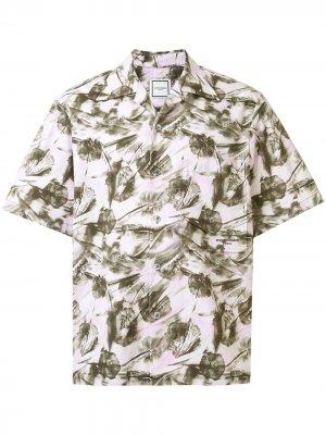 Рубашка с короткими рукавами и цветочным принтом Wooyoungmi. Цвет: белый