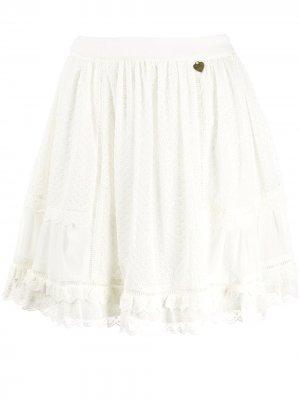 Кружевная юбка с завышенной талией Twin-Set. Цвет: белый