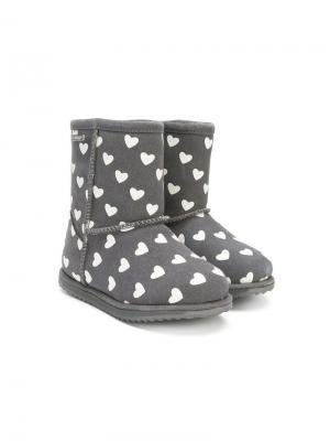 Heart print boots Emu Kids. Цвет: серый