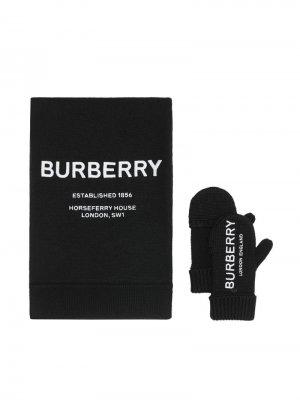 Перчатки с шарфом Burberry Kids. Цвет: черный