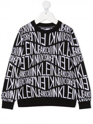 Свитер с жаккардовым логотипом Calvin Klein Kids. Цвет: черный