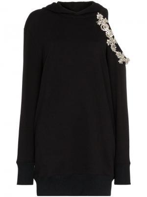 Платье-толстовка DNA с капюшоном и прорезями Christopher Kane. Цвет: черный