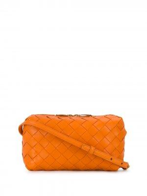 Мини-сумка с плетением Intrecciato Bottega Veneta. Цвет: оранжевый