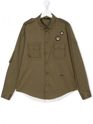 Рубашка в стиле милитари Nº21 Kids. Цвет: зеленый