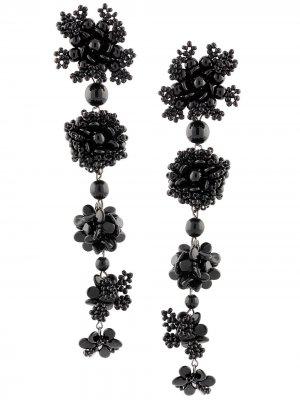 Серьги-подвески в форме цветов Carolina Herrera. Цвет: черный
