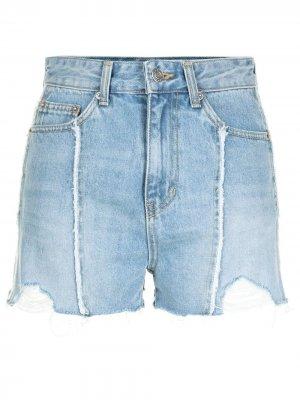 Джинсовые шорты с бахромой SJYP. Цвет: синий
