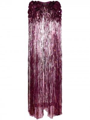 Длинный кейп с пайетками Jenny Packham. Цвет: фиолетовый