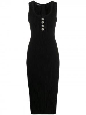 Облегающее платье миди в рубчик Balmain. Цвет: черный