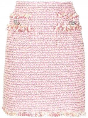 Твидовая юбка мини Blumarine. Цвет: розовый