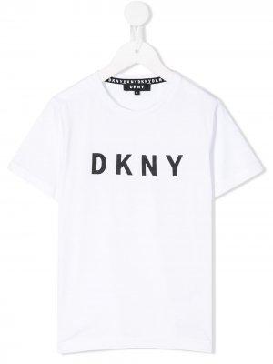 Футболка с логотипом Dkny Kids. Цвет: белый