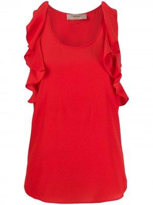 Блузка без рукавов с оборками Twin-Set. Цвет: красный