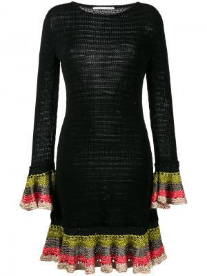 Вязаное платье с оборками на манжетах Marco De Vincenzo. Цвет: черный