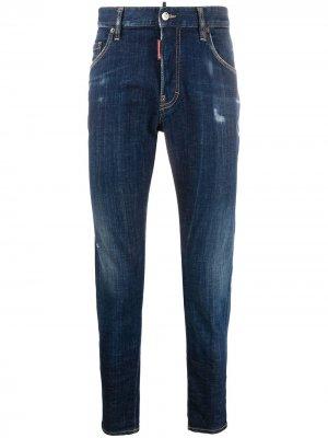 Прямые джинсы с эффектом потертости Dsquared2. Цвет: синий