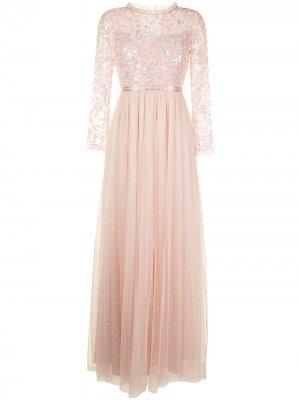 Вечернее платье с пайетками Needle & Thread. Цвет: розовый