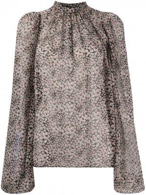 Блузка с воротником-стойкой и цветочным принтом Rochas. Цвет: черный