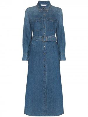 Джинсовое платье миди с поясом Chloé. Цвет: синий