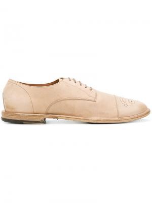 Ботинки-дерби с декоративной перфорацией Pantanetti. Цвет: нейтральные цвета