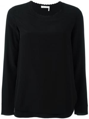 Блузка с волнистой горловиной Chloé. Цвет: черный