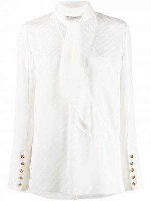 Блузка в полоску с завязками на воротнике Givenchy. Цвет: белый