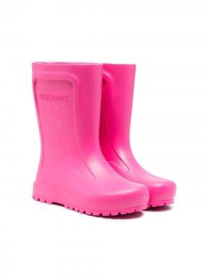 Резиновые сапоги с тисненым логотипом Birkenstock Kids. Цвет: розовый