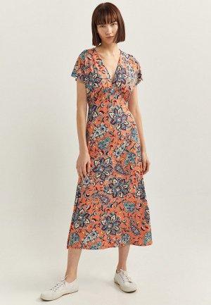 Платье Springfield. Цвет: оранжевый