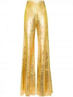 Расклешенные брюки с завышенной талией Halpern. Цвет: золотистый