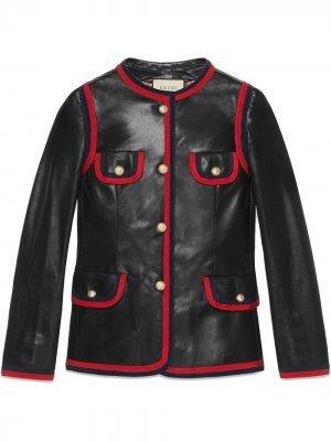 Leather jacket with ribbon trim Gucci. Цвет: черный