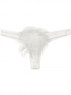 Атласные стринги Mia Gilda & Pearl. Цвет: белый
