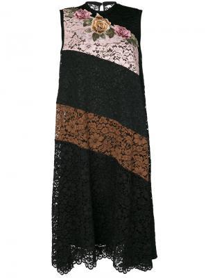 Полосатое кружевное платье Antonio Marras. Цвет: черный
