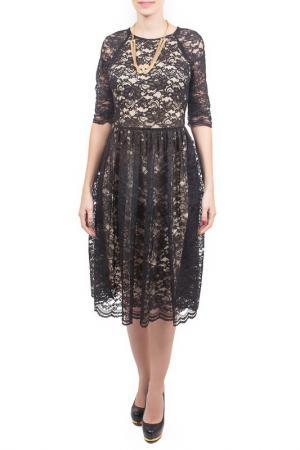 Платье, пояс Piena. Цвет: черно-бежевый