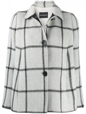 Клетчатое пальто на пуговицах Emporio Armani. Цвет: серый