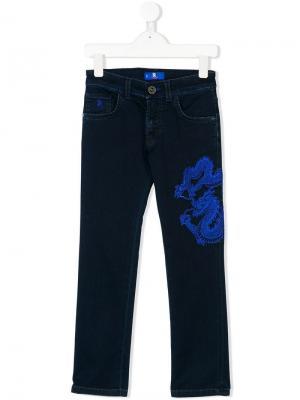 Джинсы с вышивкой дракона Stefano Ricci Kids. Цвет: синий