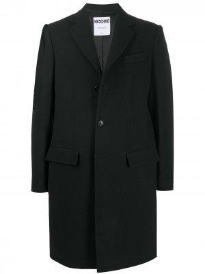 Однобортное пальто с вышитым логотипом Moschino. Цвет: черный