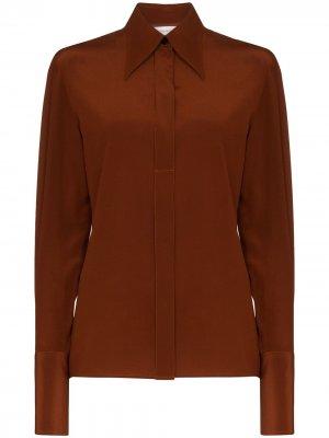 Рубашка на пуговицах Victoria Beckham. Цвет: коричневый