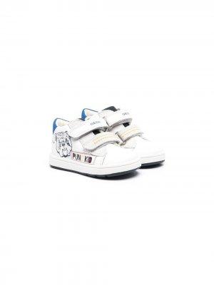 Кроссовки на липучках с графичным принтом Geox. Цвет: белый