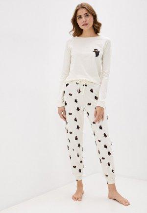 Пижама Marks & Spencer. Цвет: бежевый
