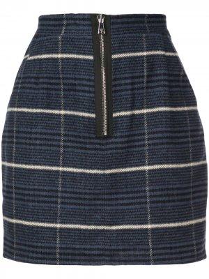 Клетчатая юбка мини на молнии Natasha Zinko. Цвет: синий