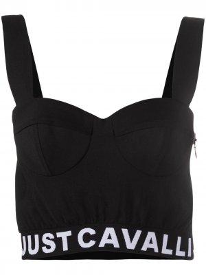 Укороченный топ-бюстье Just Cavalli. Цвет: черный